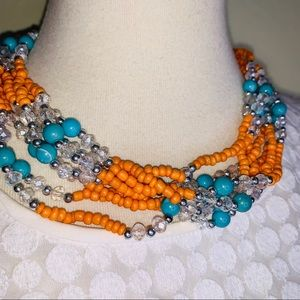 Jewelry - Coral Crystal Turquoise Multistrand Necklace